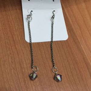Silver grey bicone drop earrings
